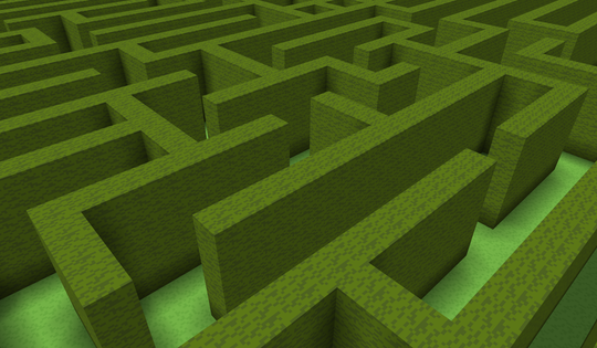 example 3d space with sky, grass blocks, and stone bricks